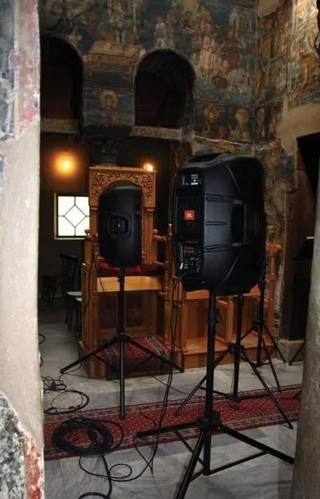 Speakers in a Greek church