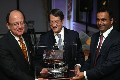 President Nikias is presented award