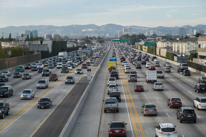cars on freeway, pollution