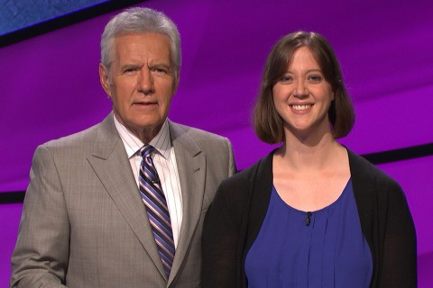 Alex Trebek and Courtney Paulson
