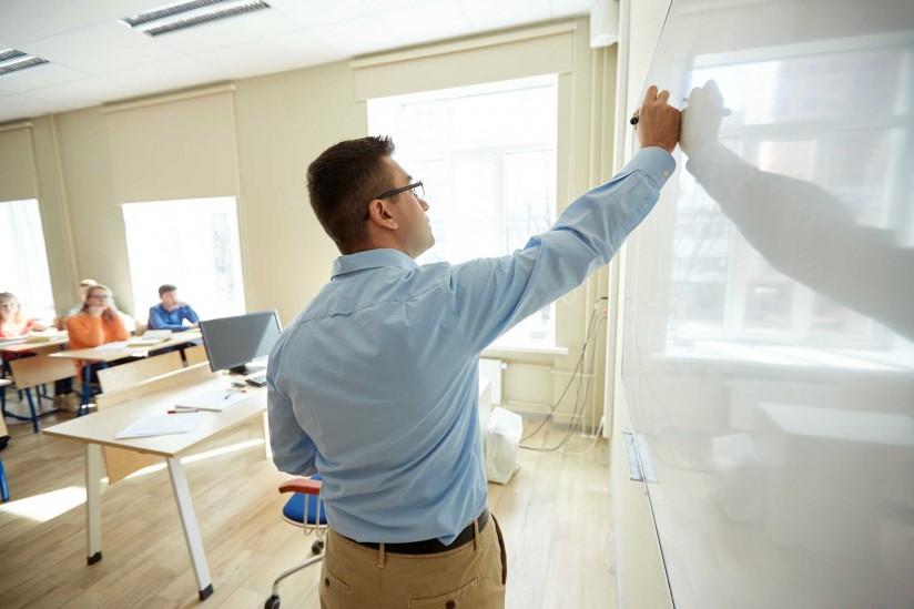 Teacher at whiteboard