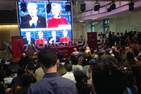 Debate viewing at Wallis Annenberg Hall