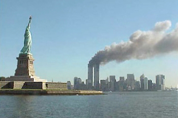 World Trade Center towers burn on 9/11