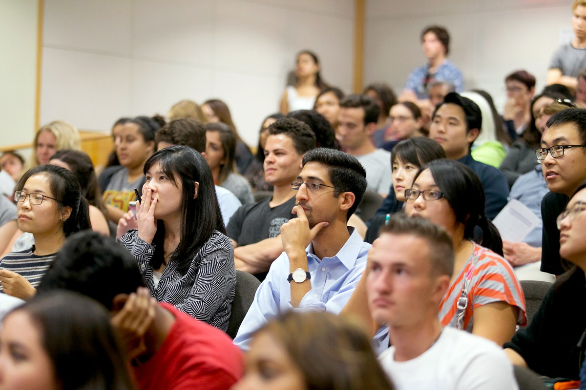 students watch debate