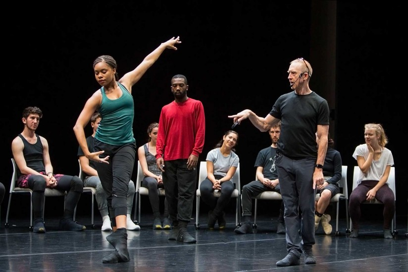 Choreographyer William Forsythe and BFA students demo onstage