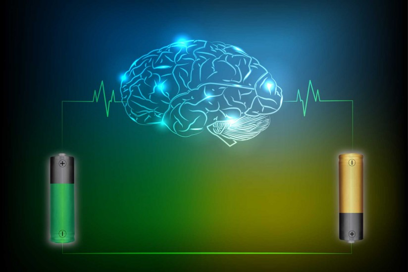 illustration with brain and batteries