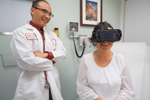 Doctor and patient with VR headset