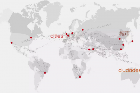Map of globe with cities