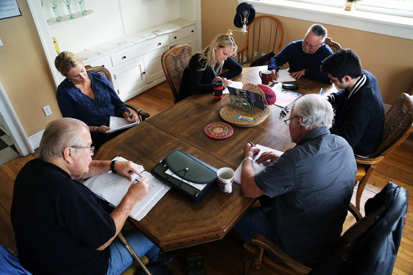 Volunteer instructors from USC Dornsife's Writing Program meet with men at The Francisco Homes weekly over the course of six-week sessions. (Photo/Mike Glier)