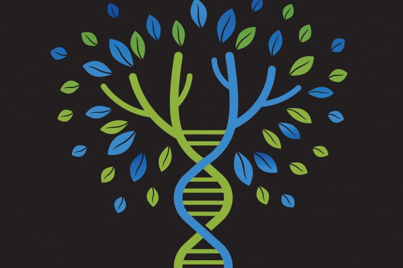 double helix and tree ilustration