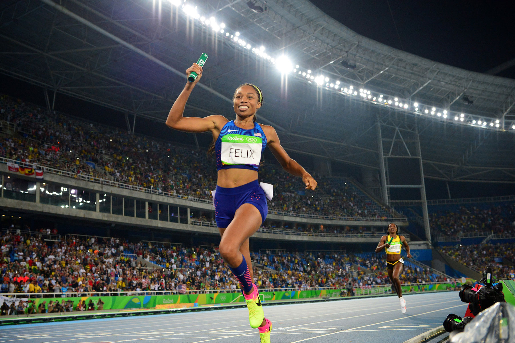 Allyson Felix running at Olympics