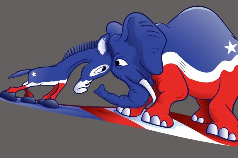 political donkey and elephant butting heads.