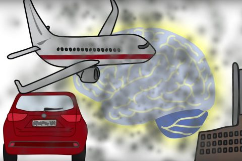 Illustration with brain and sources of air pollution