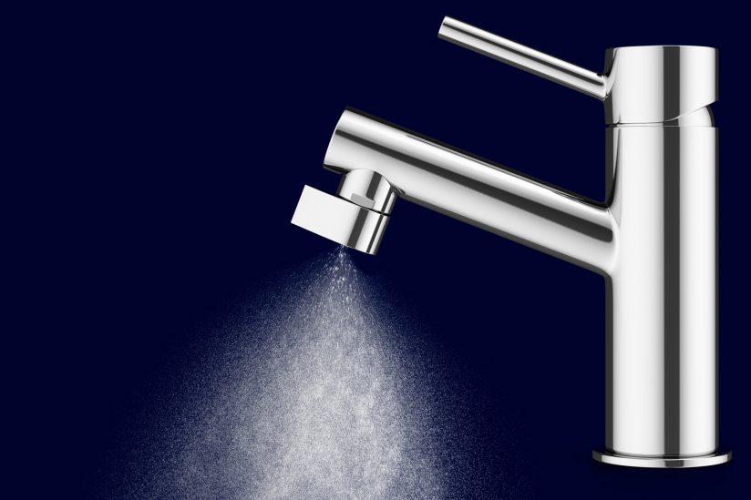 product photo of a faucet that uses mist