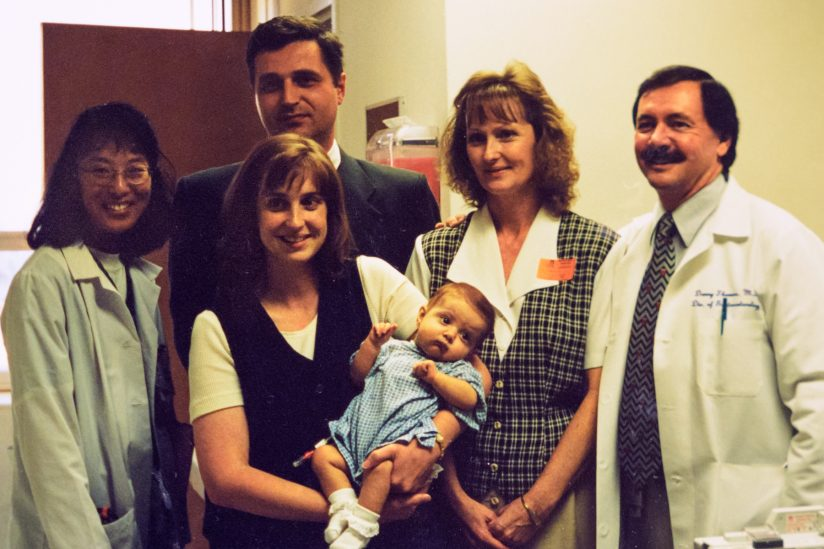 Baby Lydia Hand and her family in 1998