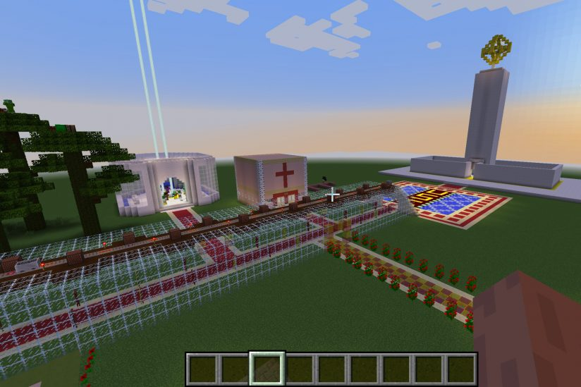 Minecraft screenshot with rendering of USC campus