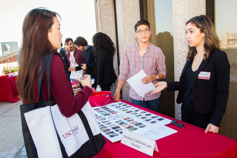 law review students at recruiting table at