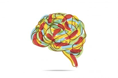 Colorful brain drawing
