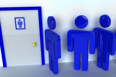 illustration of figurines waiting for line in bathroom
