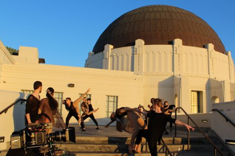 Kaufman dancers on steps of Griffith Observatory