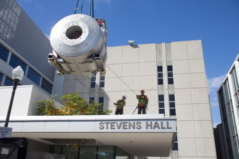 magnet for MRI being lowered into Stevens Hall