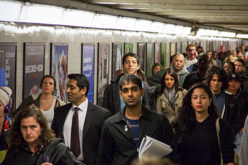 NYC subway tunnel full of commuters