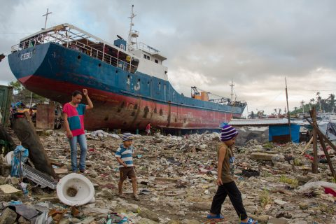 A ship washed ashore after a typhoon in the philippines