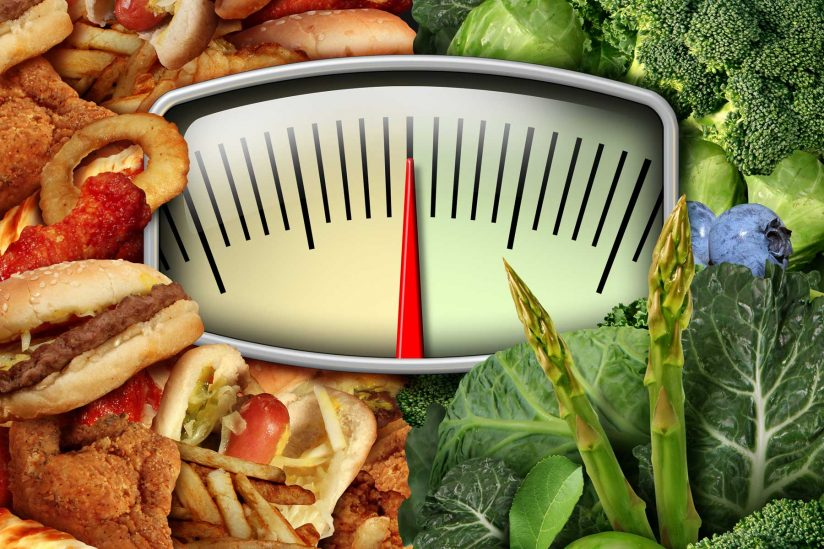 Illustration of scale with healthy food options on one side and unhealthy on the other
