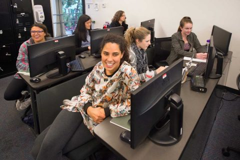 Six female students in cybercrime class