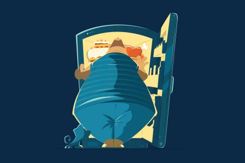 illustration of overweight man looking in fridge