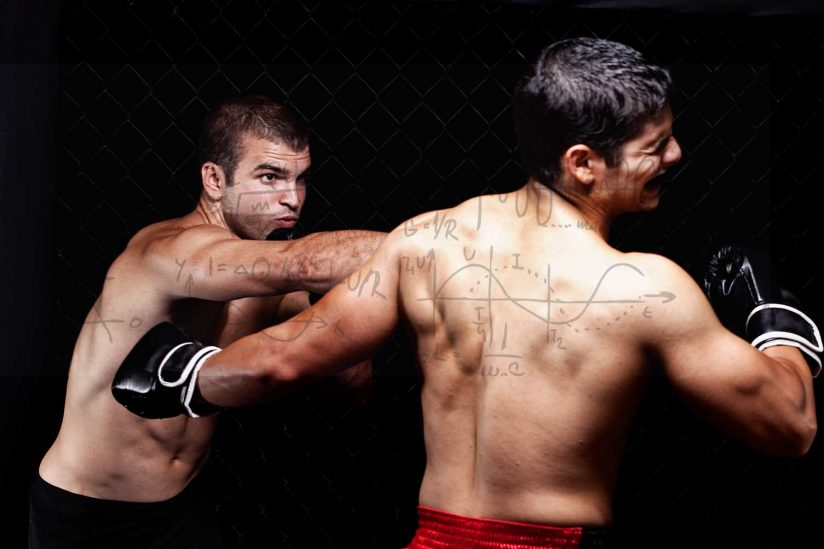 Two fighters in a cage with math equations overlaid in graphic design