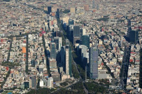 Aerial view of Mexico City skyline