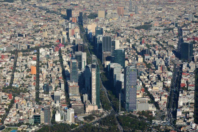 Aerial view of Mexico City skyline
