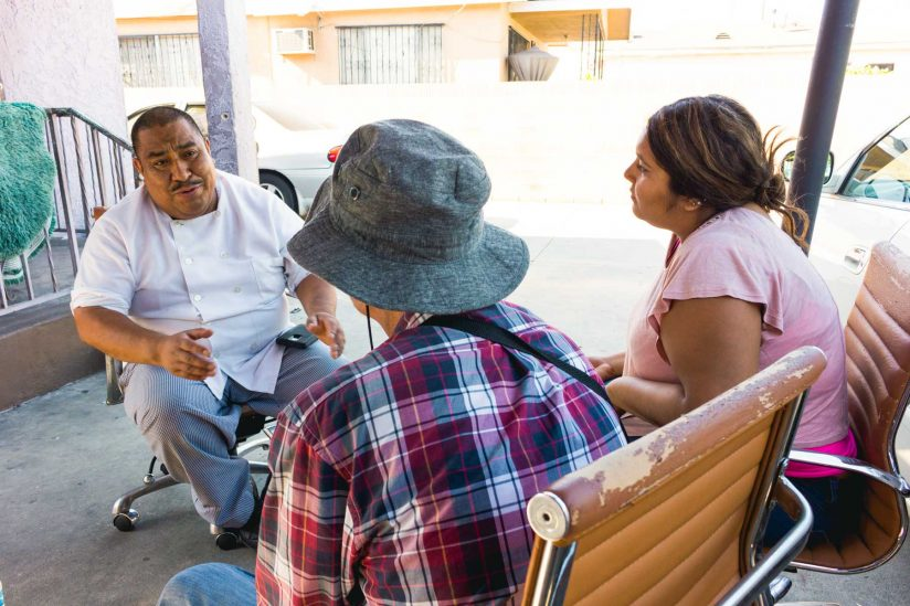 Samantha Silver at work interviewing subjects in Boyle Heights