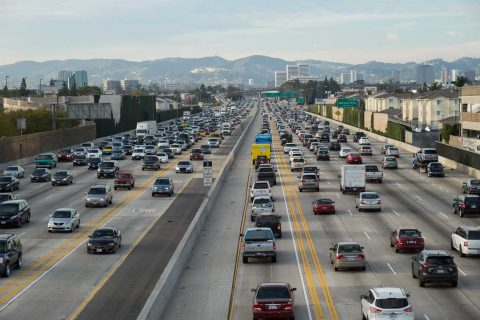 Traffic on the 405 freeway Los Angeles CA