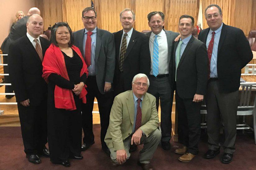 group photo of veterans advocates with senator Josh Newman