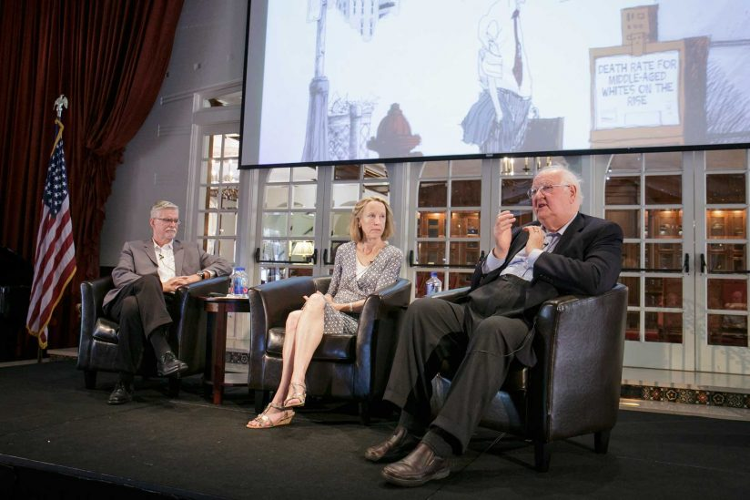 Moderator, Anne Case and Angus Deaton on stage at Town and Gown