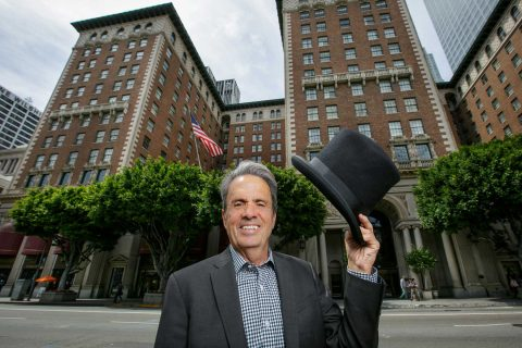 Fred Cook in front of the Biltmore where he used to work as a doorman