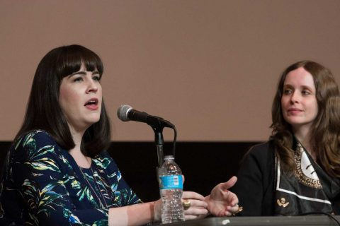 Caitlin Doughty and Lindsey Fitzharris speak on a panel