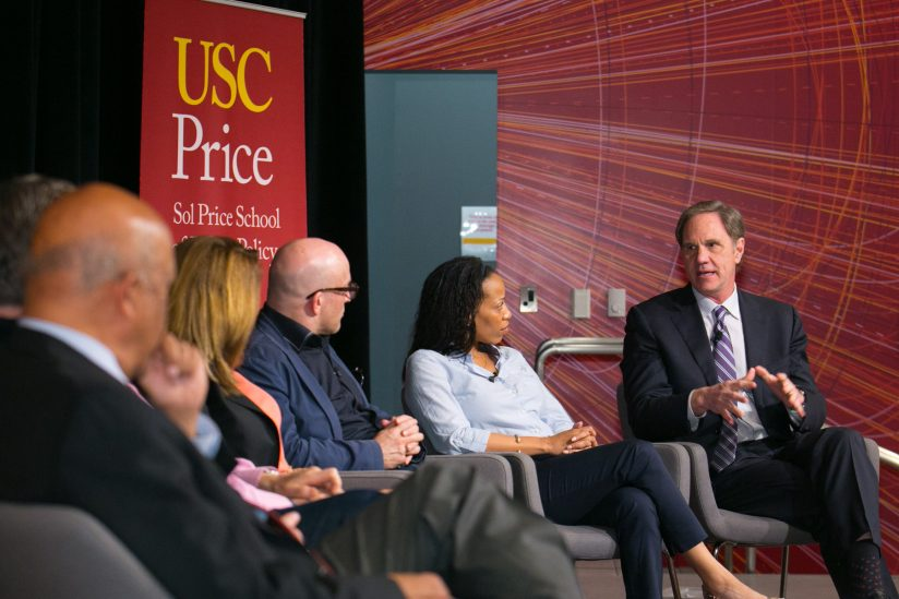 "USC Price Dean Jack Knott at ""America Divided"" discussion"