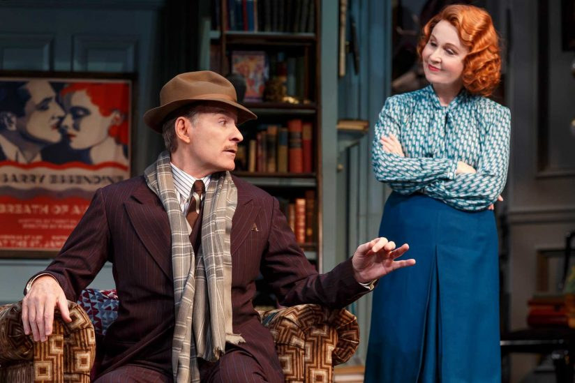 "Kevin Kline and Kate Burton onstage in ""Present Laughter"""