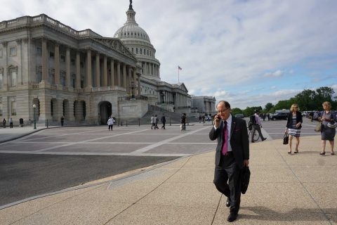 President C. L. Max Nikias outside Capitol