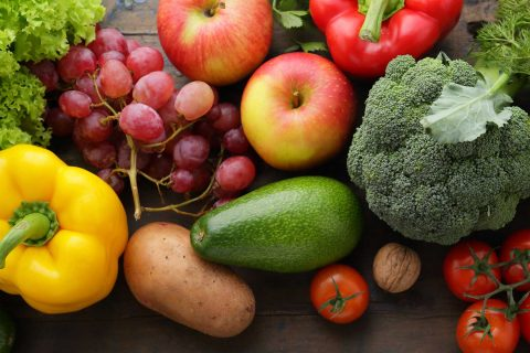 veggies and fruits on table