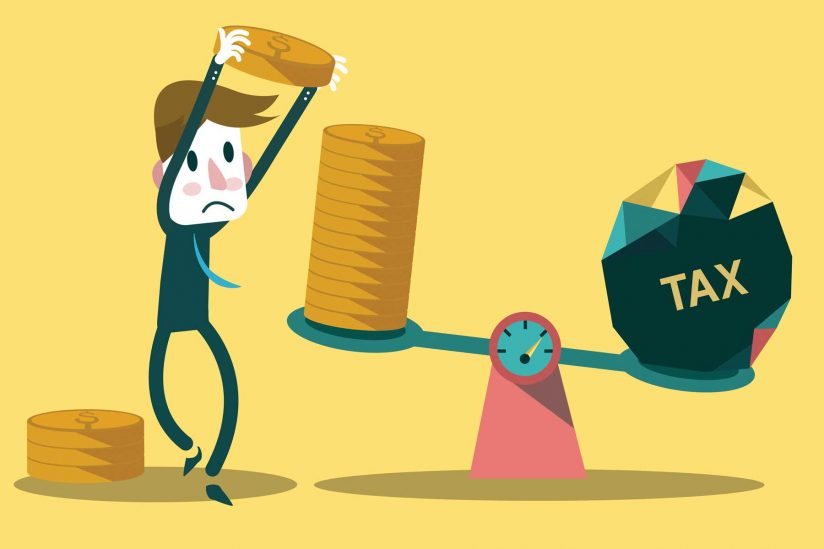 Illustration of man balancing coins on a scale with tax debt