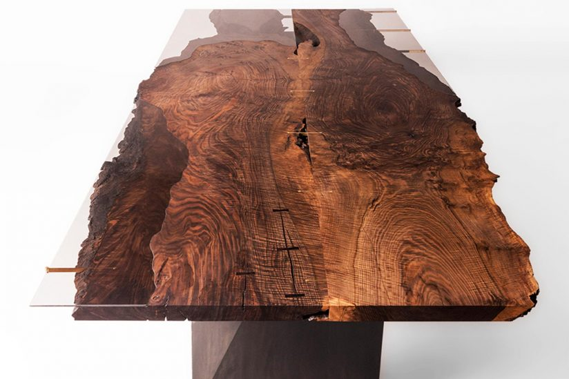 Walnut table designed by Taylor Donsker