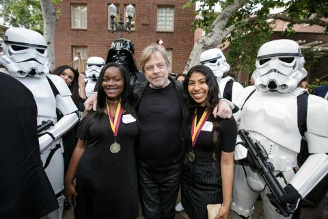 Mark Hamill with two NAI scholars