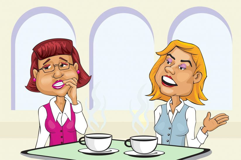 Two women talking (illustration)