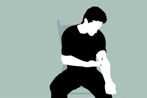 illustration of person injecting arm