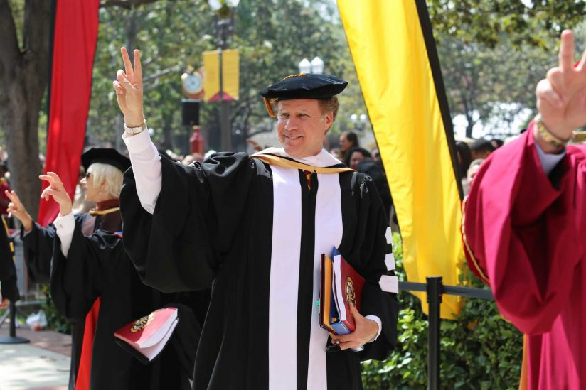 Will Ferrell arriving at commencement