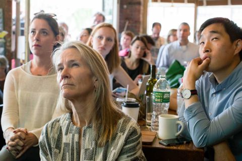 Bar patrons watch Comey testify